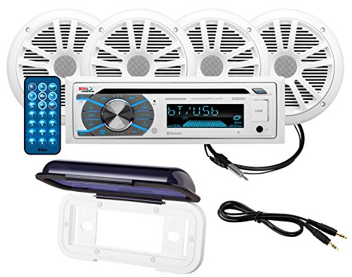 BOSS Audio Systems MCK508WB.64S Paquete de altavoz de receptor marino, Bluetooth, CD...
