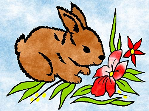 Klebefolien Sandbild OHNE Sand, 15x20cm, 433 Baby - Kaninchen - Weitere Bastelsets erhältlich