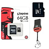 Original Kingston 64GB MicroSD Karte SDHC Speicherkarte 64 GB + KartenLeser Für Samsung Galaxy J5 (2016)