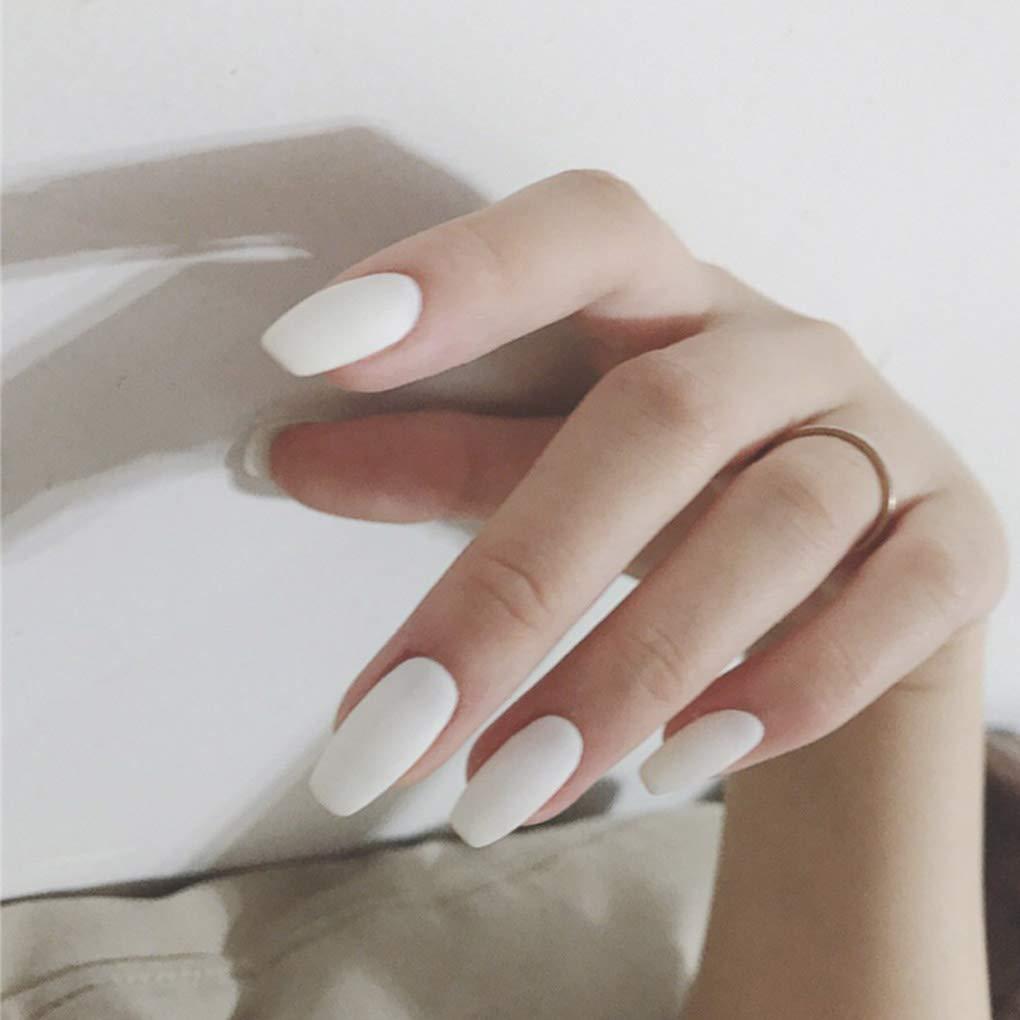 Olbye Square Matte Fake Chicago Mall Nails Medium White on 5 ☆ popular Nude F Press