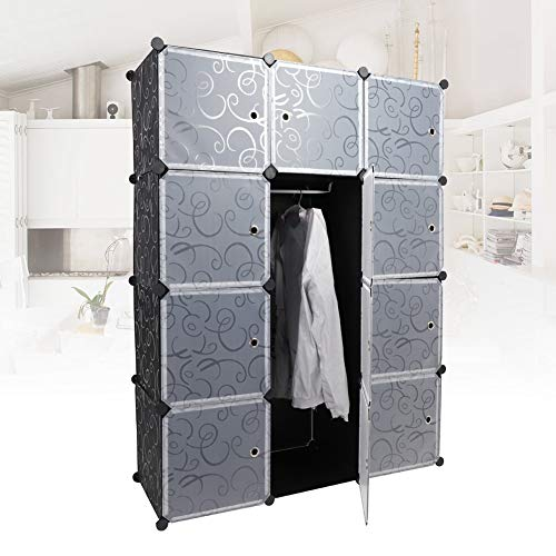 Qiilu DIY Storage Cubes 12 Shelves Portable Clothes Closet Wardrobe Bedroom Armoire DIY Storage Organizer Closet with Hanging Rod for Bedroom Living Room