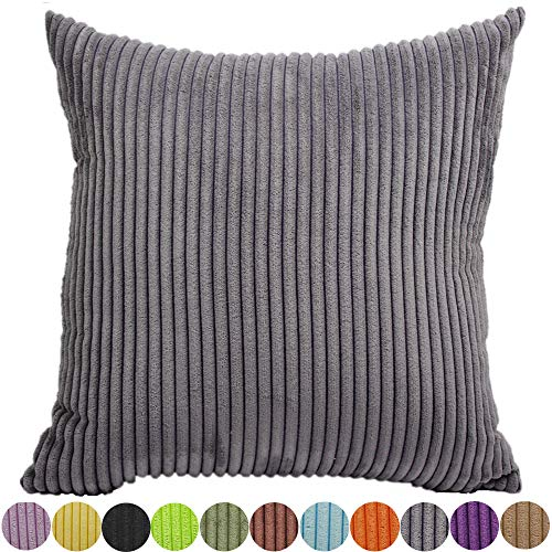 FEILEAH Striped Corduroy Soft Decorative Square Throw Pillow Cover Cushion Covers Pillowcase Home Decor for Sofa Chair Couch/Bedroom Decorative Pillowcases 1 Piece Grey 24x24inch/60X60CM