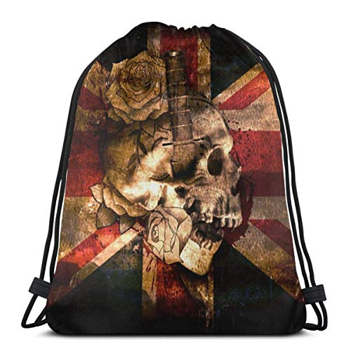 Rose Schädel der britischen Flagge Unisex Outdoor Gym Sack Bag Reise Kordelzug Rucksack Tasche