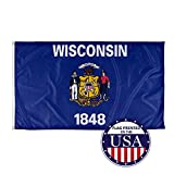 Vispronet - Wisconsin State Flag - 3ft x 5ft Knitted Polyester, State Flag Collection, Made in The USA (Flag Only)