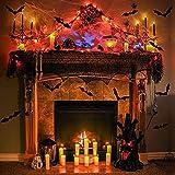 DERAYEE 5 Stück Halloween Deko Kamintuch Tischläufer Lampenschirm Tischdecke Schläger Deko Stoff Horror Deko Tuch schwarz - 6