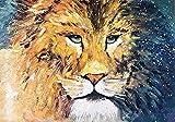 Xykhlj Pintar por Números - Animal-León-Amarillo - Lienzo preimpreso - Home Décor Pintura al óleo - Arte de Lona para el hogar Decorati - 50x50cm - (Marco de Bricolaje)