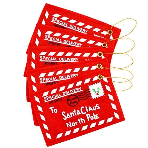 Zaleonline 5 Stück Weihnachtsumschlag Weihnachts-Umschlag Fühlte Hängende Grußkarte Verzierung für Weihnachtsbaum Festliche Neujahrsdekoration