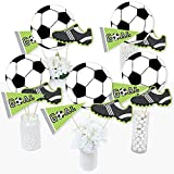 Big Dot of Happiness Goaaal - Soccer - Baby Shower or Birthday Party Centerpiece Sticks - Table Toppers - Set of 15