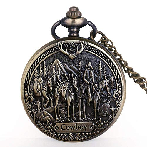 WHSW Reloj de Bolsillo para Hombre con Cadena, Reloj de Bolsillo Antiguo Vintage Bronce Vaquero Caballo Relojes de Bolsillo de Cuarzo Colgante analógico Relojes de Bolsillo Unisex Collar Cadena