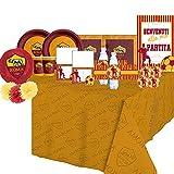 ipt Kit N°70 Addobbi Compleanno per 16 Persone AS Roma + Festa in Carta Tifosi lupa lupachiotto giallorossi Decorazioni Piatti Bicchieri tovaglioli tovaglia