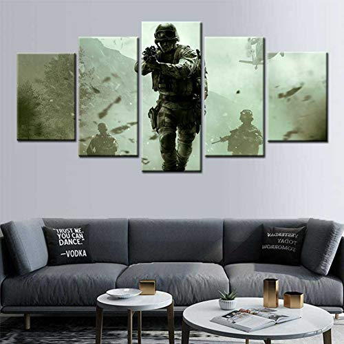 WFUBY 5 Pieces Canvas Printing Decorative Paintings Call of Duty Modern Warfare Poster Canvas Wall Art Picture Posters and Prints Wall Art Children