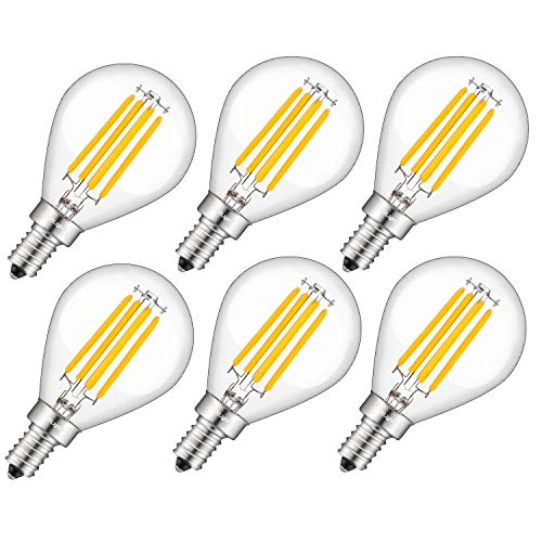 CRLight 3000K Dimmable LED Globe Candelabra Bulb 4W Soft White, 40W Equivalent 400LM E12 Base LED Filament Bulbs, G14(G45) Clear Glass Globe Shape, 6 Pack
