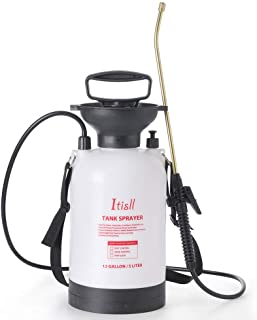 ITISLL 1.3Gallon Garden Pump Sprayer Portable Yard & Lawn Sprayer with Brass Wand and Shoulder Strap for Weeds Plants 5 li...