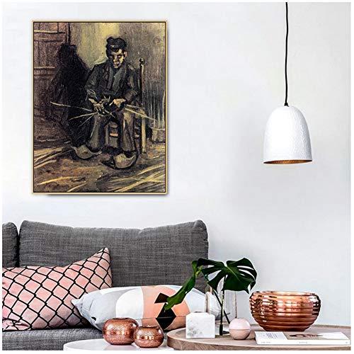 Van Gogh Boer een mand maken Beroemde meester Kunstenaar Canvas schilderij Poster Print Wall Art Foto's voor woonkamer Interieur -50x70cm Geen lijst