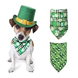 St. Patrick's Day Dog Bandana 2 Pack Shamrock Green Plaid Pet Scarf Triangle Bibs Pet Costume Accessories for Small...