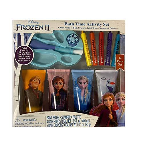 Frozen II Bath Time Paint Activity Set with Paint Brush, Stamper, Palette, 4 Water Paints, and 5 Multicolor Crayons