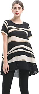 Women's Plus Size Chiffon Short Sleeve T-Shirt Round Neck Stripe Printed Tops Casual Loose Irregular Thin Summer Women's T-shirt (Color : A, Size : 5XL)