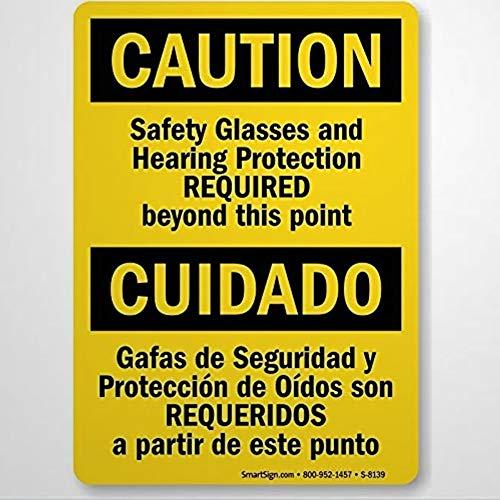 Señal de advertencia de precaución gafas de seguridad y protección auditiva, señal de negocios de aluminio de 8 x 12 cm para interiores y exteriores
