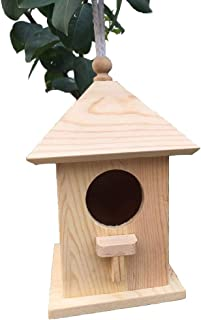PINVNBY Bird House Wooden Chickadee Wren Home Nest Outside Hanging Breeding Box for Lovebirds, Parrotlets, Wrens,Chickadees,Tits and Sparrows
