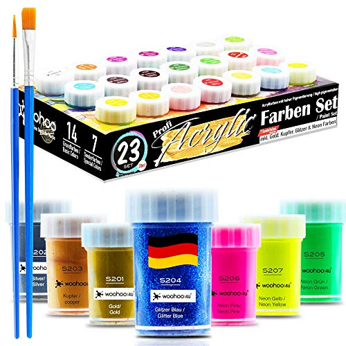 woohoo4u Profi Acryl-Farben Set - 21 Farben je 20 ml Künstlerfarben mit 2 Pinsel inkl. Acrylfarben Metallic Gold, Kupfer, Silber, Glitzer Blau, Neon Farben, Leinwand bemalen, Holz, Ton, Papier