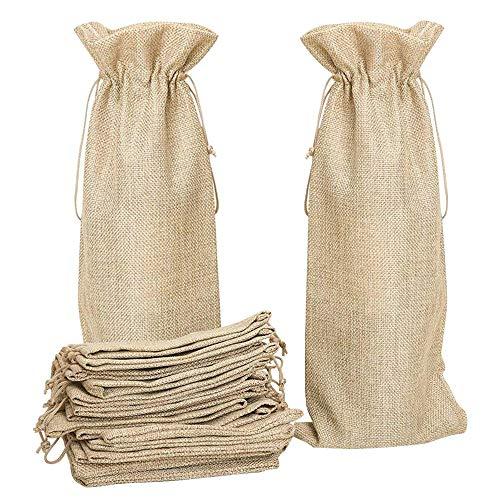 AFASOES 10 Stück Weinbeutel Weintasche mit Zugverschluss Geschenk Jute Sackleinen Wein Taschen Geschenktüten Weinflaschen für Hochzeit Weihnachten Party Wein & Champagner Packung (14*34 cm Braun)