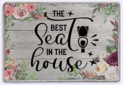 """vipsung The Best Seat in The House Bathroom Doormat Bath Toilet Sign Rustic Farmhouse Decor Indoor Outdoor Rug (15.7"""" x 23.6"""")"""