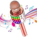 DY_Jin Micrófono inalámbrico de Karaoke Bluetooth 4 en 1 con Luces LED, portátil de Mano para niños, Reproductor KTV doméstico con función de grabación(Pink Gold)