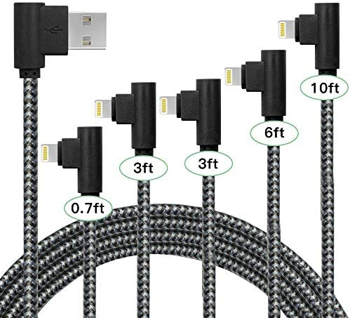 5Pack iPhone Fast Charger 90 Degree 0 7FT 3FT 3FT 6FT 10FT Extra Long Nylon Braided Charging product image