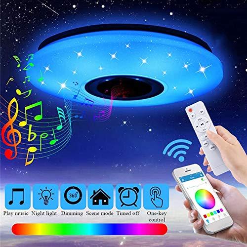 Preisvergleich Produktbild YYDBG LED Musik Deckenleuchte Mit Bluetooth Lautsprecher Mit Fernbedienung RGBW Farbwechsel Licht Für Wohnzimmer,  Schlafzimmer,  Küche Und Esszimmer, 50CM60W