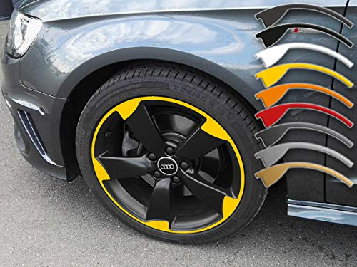 SB CarDesign 8, 5x20 Pulgadas ET45 Pegatinas de Llanta para A6 Q5 VW Audi 5-Arm Rotor Llantas Llanta Adhesivo - Amarillo