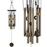 Musical Wind Chimes Outdoor&Indoor Hanging Decorative With 8 Bronze Aluminum Tubes 4 Wind Bells - 25 Inch Pure Hand Made Quality Gift Wind Chimes for Xmas Mom Gifts, Home, Garden, Patio, Balcony Decor