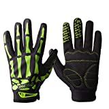 TOFENR Unisex Cool Skull Skeleton Full Finger Gloves for Bicycle Motorcycle Cycling Winter Warm Sports Hiking Fitness Gym Gloves, Green Skull XL: Palm Width 3.5~4'/9~10cm