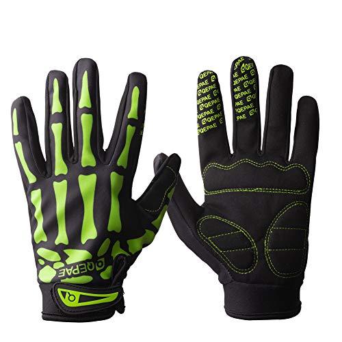 Tofern Uomo Guanti Dito Pieno Caldo per Invernali Antivento Bici Ciclismo Moto, Green L (Larghezza Palm 8-9cm)