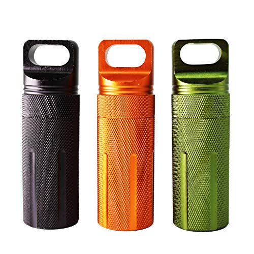 PPFISH Military Grade Air-tight EDC Accessory Case, Pill Fob Capsule Keychain, Waterproof Match Case Battery Holder, Outdoor Survival Storage Metal Container Dry Box (pack of 3)