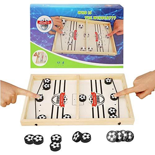 colmanda Brettspiel Hockey, Fast Sling Puck Game, Katapult Brettspiel, Tisch Hockey Brettspiel Katapult Schach, Portable Board Games aus Holz Brettspiel Schnell, Hockey Game für Kinder & Familie (1)