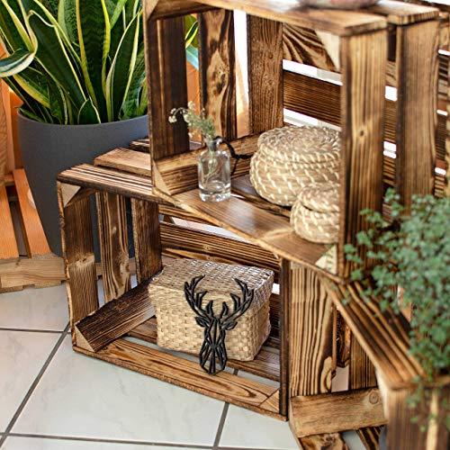 LAUBLUST 3er Set Große Vintage Holzkisten – 40x30x25cm, Geflammt, Neu, Unbenutzt | Möbel-Kiste | Wein-Kiste | Obst-Kiste | Apfel-Kiste | Deko-Kiste aus Holz - 5