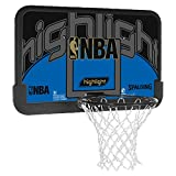 SPALDING - NBA HIGHLIGHT BACKBOARD (80-453CN) - Planche Panier Basket - Cercle renforcé - Filet resistant - noir/bleu