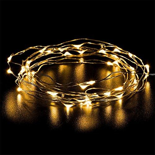 YINUO LIGHT LED Lichterkette Warmweißes 13ft 40leds Weihnachtsbeleuchtung Draht Batterie-betriebe Außenbeleuchtung A++ Deko für Weihnachten,Garten,Hochzeit,Party