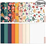 EOOUT 18 Pack Cute File Folders Decorative File Folders Floral Folders Letter Size Colored File Folders,1/3-Cut Tabs, 9.5 x 11.5 Inches, for Office, School, Home