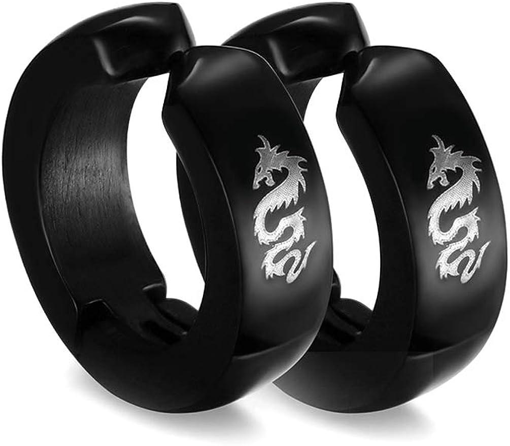 Mgutillart Punk Rock Stainless Steel Dragon Clip On Earrings