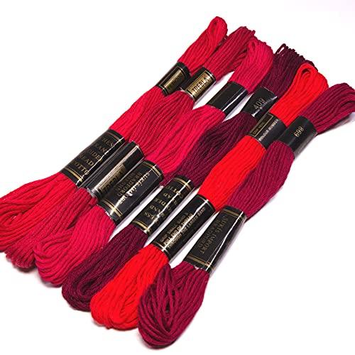Paquete de hilo de bordado 100% algodón en tonos de diferentes colores (tonos de rojo)