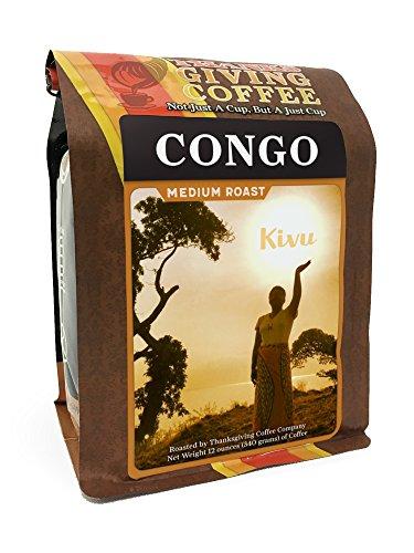 Thanksgiving Coffee 'Congo Medium Roast' Medium Roasted Fair Trade Organic Whole Bean Coffee - 12 Ounce Bag