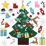 CJCX Feltro Albero Natale 3.3ft della Feltolta di DIY con 26 PCS Ornamenti Staccabili 1 Banner con Merry Christmas Bambini Regali di Natale Decorazioni Natalizie