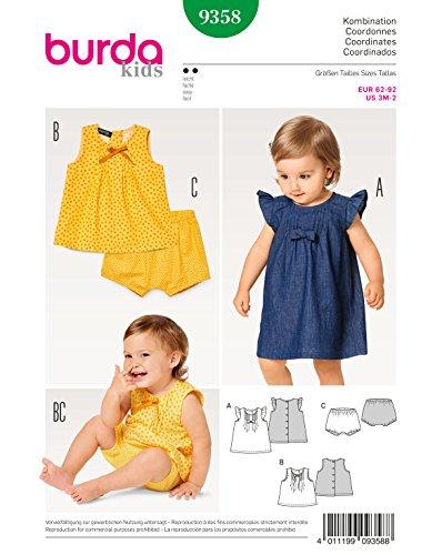 Burda 9358 Schnittmuster Kleid, Hängerchen und Bluse mit Höschen und Knopfverschluss, Kids Level 2 leicht,  62-92