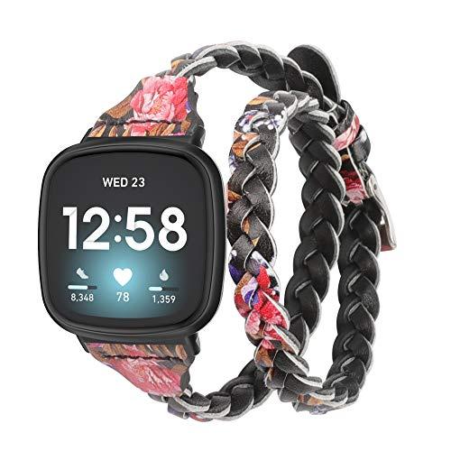 Glebo Compatible con Fitbit Versa 3/Fitbit Sense pulsera para mujer y niña, fina correa de piel de doble recorrido, correa de repuesto compatible con Fitbit Versa 3/Sense, color negro y rosa