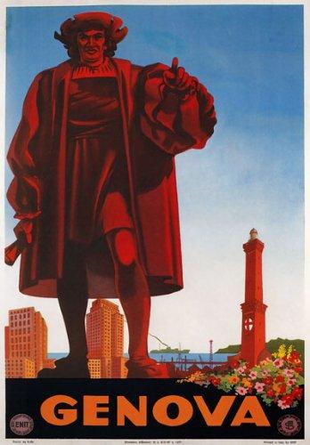 "TV69 Vintage 1940's Genova Genoa Italy Italian Travel Poster Re-Print - A3 (432 x 305mm) 16.5"" x 11.7"""