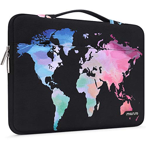 MOSISO Laptop Sleeve 360 Protective Case Bag Compatible with 13-13.3 inch MacBook Pro, MacBook Air, Notebook with Trolley Belt, Polyester Shockproof Carrying Case Briefcase Handbag, Black World Map