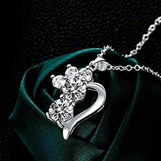 European and American Zircon Necklace Silver Plated Jewelry (Color : White) Girls Necklace (Color : White)