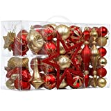 Valery Madelyn 100ct Luxury Red Gold Shatterproof Christmas Ball Ornaments Decoration Balls with Tree Topper for Christmas Tree Decorations