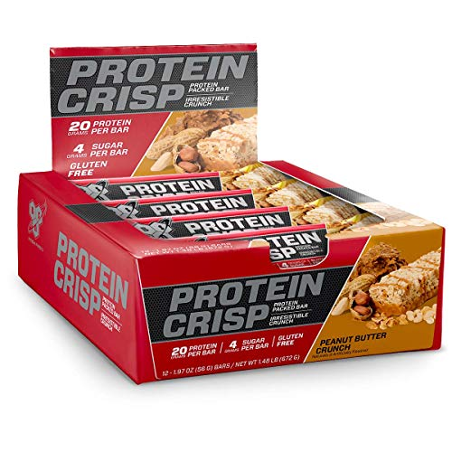 BSN Protein Crisp Bar by Syntha-6, Low Sugar Whey Protein Bar, 20g of Protein, Peanut Butter Crunch, 12 Count